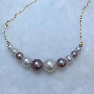 100%天然淡水珍珠正圓無瑕疵新款排珠白色粉橙色紫色頸鏈