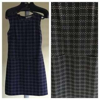 Navy Blue Checked Dress