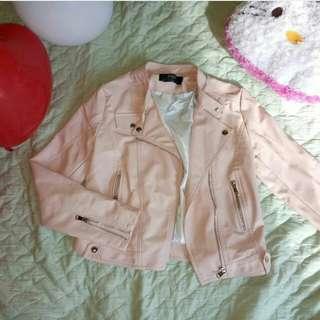 jaket kulit baby pink / leather jacket
