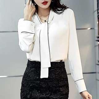 Office shirt contrast trim bow tie ribbon white chiffon blouse top