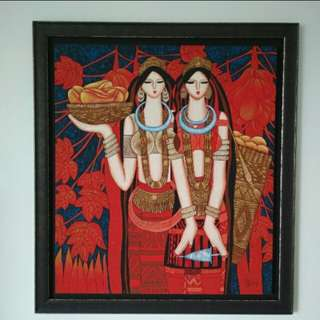 Chinese Tribal Painting (about 1×1m) With Wooden Frame