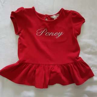 Poney girl red top blouse