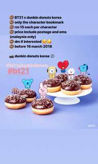 BT21 x Dunkin Donuts Korea Bookmark