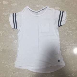 White And Black Outline Pock Two Stripes TOP