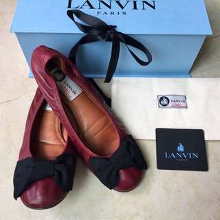 LANVIN Leather Ballet Flats (Dark Red)