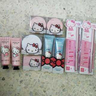 Hello Kitty Cosmetics ( BB cushion / BB cream / eye brow powder / eye brow pencil / loose powder / hand cream)