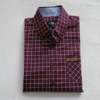 Dark Red Natural Project Checkered Shirt