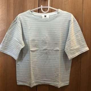 Korean Style Blue Striped Top