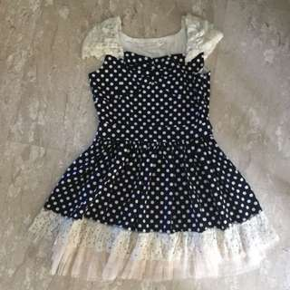 Na Na Reve De La Black And White Polka Dot Korean Off Shoulder Dress