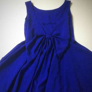 Royal Blue Ribbon-Back Dress