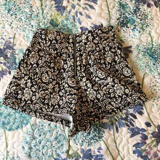 Black and White Floral High Waisted Shorts
