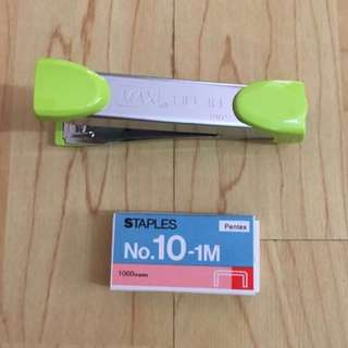 CLEARANCE SALES {Stationary - Stapler} Pre-owned MAX Brand Model HD-10 Stapler Come With One Box Pentex  No. 10-1M Staples