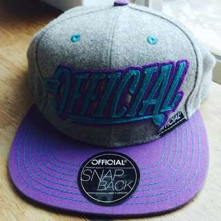 帽 official snap back cap 灰 紫