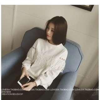 *全新轉賣 韓版 白色 上衣 長袖長衣 編織風 流蘇造型 長袖短版 長袖T