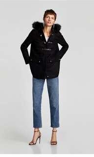 Zara three quarter coat with hood