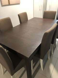 IKEA 6 SEATER DINING TABLE WITH CHAIRS