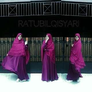 Gamis Ratubilqisyari warna Fanta size L + Kerudung segiempat warna hitam