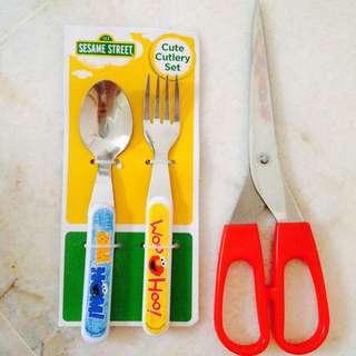 🆕2pc Sesame Street Cutlery