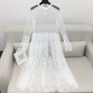 2018 Korean version of the new spring long ride perspective lace dress