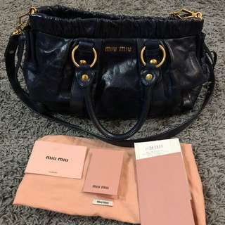 AUTHENTIC  Miu Miu Vitello Lux Ring Medium Satchel