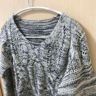 🚚 短版灰白花毛線混毛 毛衣