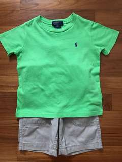 Polo Ralph T-shirt + Carter's shorts - 3T