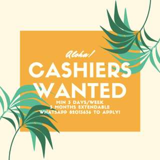 • PART-TIME CASHIERS • MIN 3 DAYS/WEEK • TOURIST ATTRACTION • FUN JOB!!