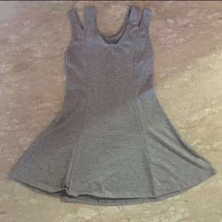 Basic Plain Light Grey Skater Skirt Dress Off Shoulder