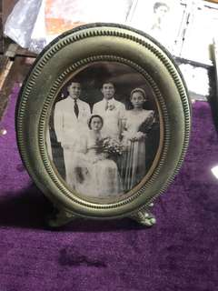 Vintage Peranakan Photo in Brass Standing Frame