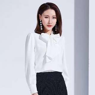 Long sleeve bow tie blouse shirt top plus size