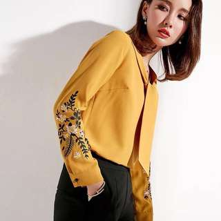Office wear embroidered long sleeve bow tie chiffon blouse shirt top multi colour  plus size