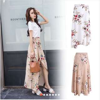 BRAND NEW Self Tie Floral Skirt (Beige)