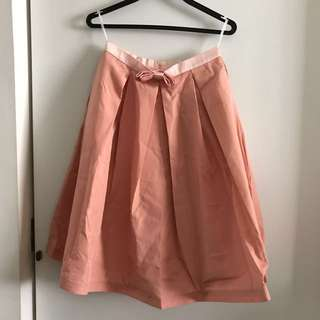 POEM Inspired Peach Pink Pleated Swing Bow Skirt