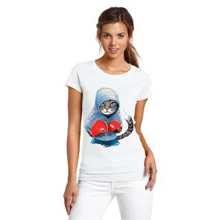 Boxing kitty cat tee top shirt | PO