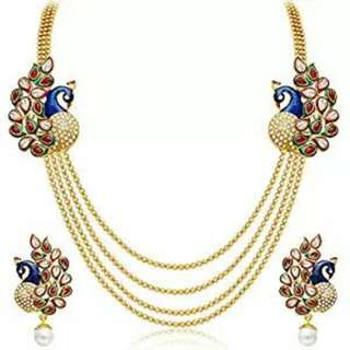 Ready Stock Gold Plated Dancing Peacock necklace and earringsn