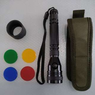 Military Grade Xenon LED Flashlight With 4 Colour Filters (Batteries not included)