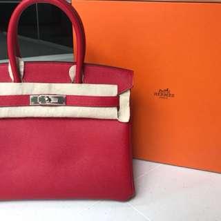 fcec7dbed8c3 New Hermes Birkin 30 Rouge Casaque PHW
