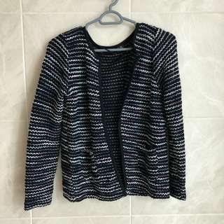Atmosphere Black White Monochrome Woven Cardigan Sweater