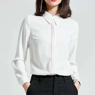 Office lady wear long sleeve lapel white chiffon blouse shirt top