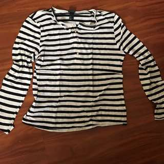 H&M Striped Long Sleeve Henley Neck T