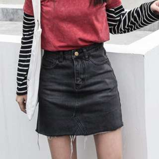 retro high waist denim skirt