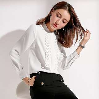 Office lady wear White lace front blouse shirt top