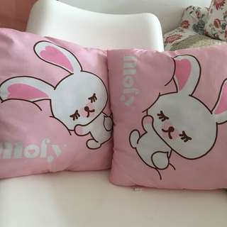 A pair of sweet pink mofy rabbit cushion