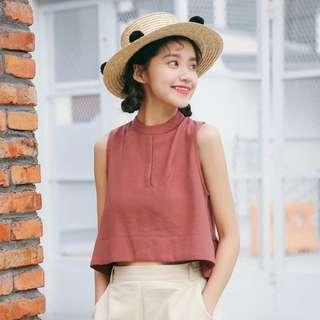 Dusty pink high neck/ sleeveless top