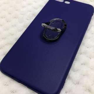 🈹 買一送一 iPhone 7/8+ 企架指環磁鐵三合一手機電話殼藍色 Phone Case