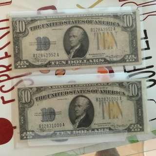 美金1O元面額1934年