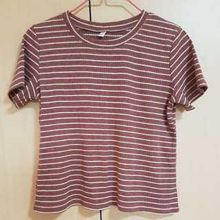 Brown Ribbed Crop Top