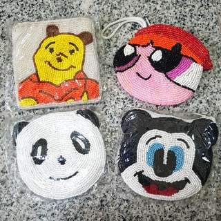 ALL - Sequined Pooh/Blossum/Mickey coin Pouch