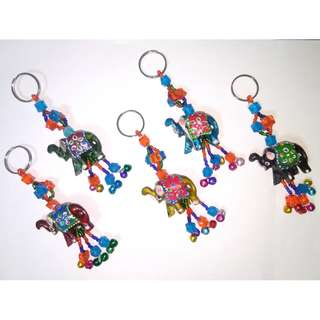 Keychains - Asorted Hand Craft Wooden  Elephant Peacock ShowPiece