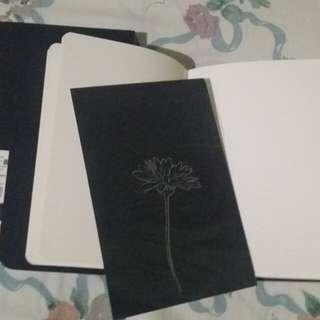 Floral black notebook/ sketch notebook